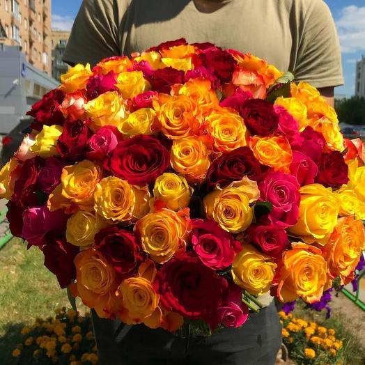 "101 роза ""Яркий микс"": букеты цветов на заказ Flowwow"