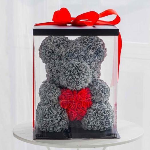 Мишка в коробке (3 D): букеты цветов на заказ Flowwow