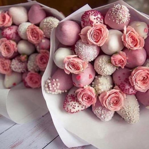 Клубничный букет «Тиффани»: букеты цветов на заказ Flowwow