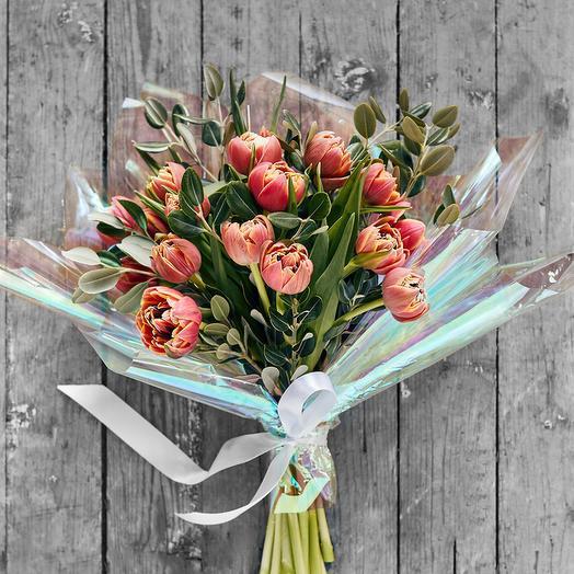 Букет из пионовидных сортовых тюльпанов: букеты цветов на заказ Flowwow