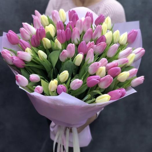 Букет из 75 тюльпанов: букеты цветов на заказ Flowwow