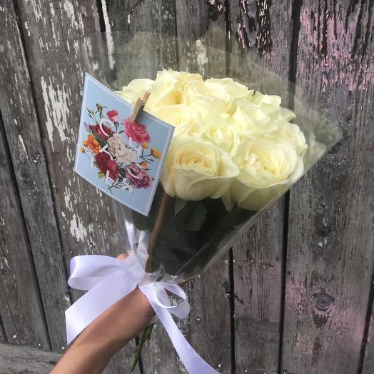 11 белоснежных роз: букеты цветов на заказ Flowwow