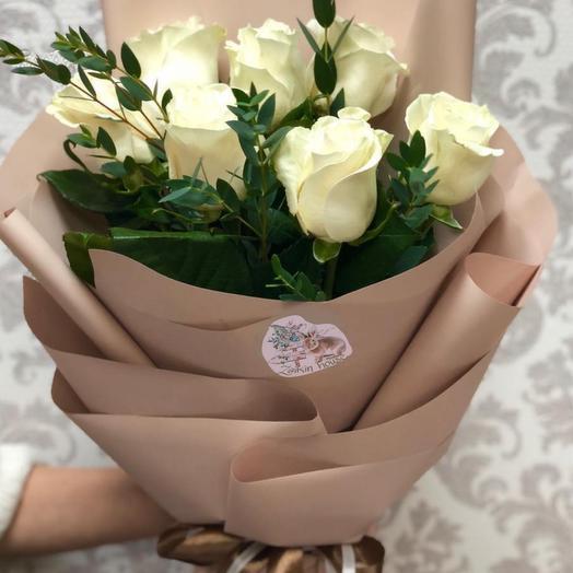 """Букет из """"7 белых роз"""": букеты цветов на заказ Flowwow"""