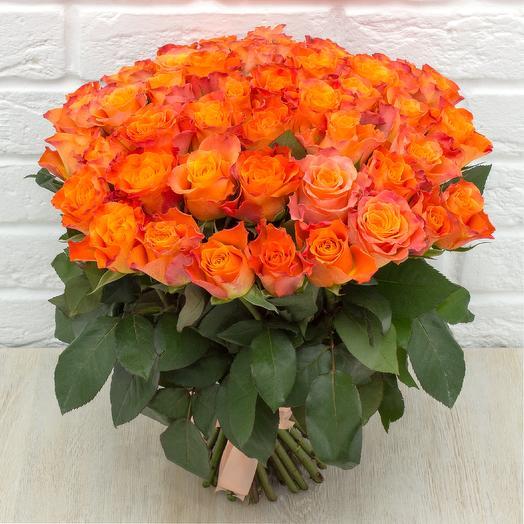 51 оранжевая роза 40 см