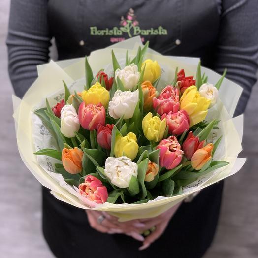Яркий весенний букет из пионовидных Тюльпанов: букеты цветов на заказ Flowwow