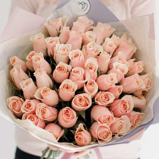 Букет из 51 персиковой розы (Кения) 40 см Standart