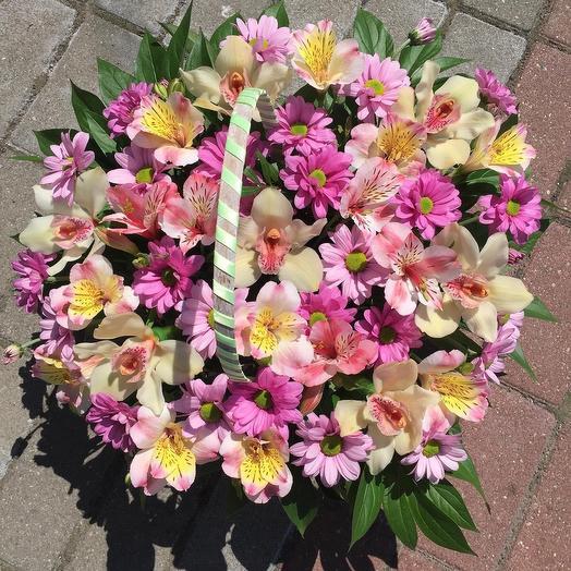 Корзина с орхидеями и альстромерией 🌿