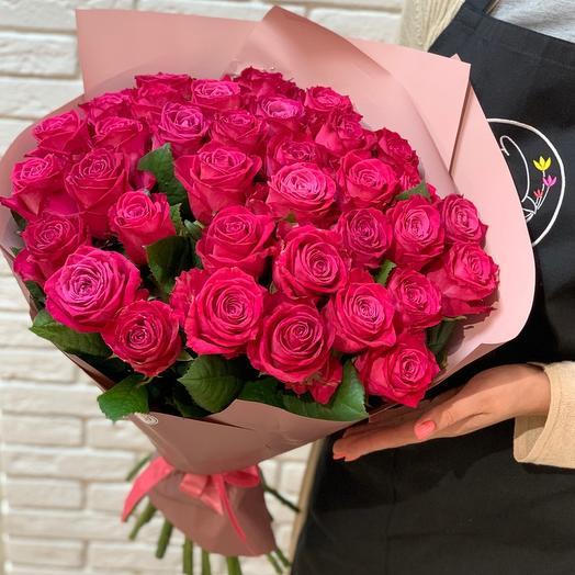 Букет из роз «Малиновый закат»