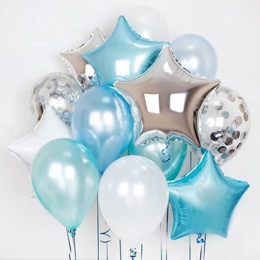 Букет из шаров бело-голубой