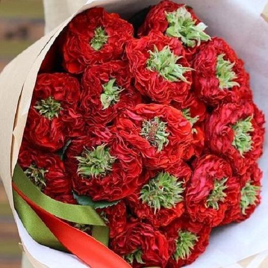 Букет из роз Ред Монстер 21 шт Букет красных роз Букет с розами Алые розы с зеленой сердцевиной