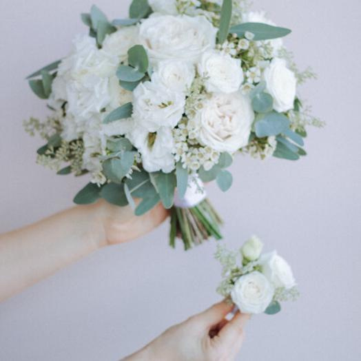 """Букет невесты """"растрепыш"""" бело-зеленый"""