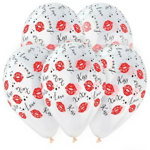 Воздушные шарики поцелуй 💋,  прозрачные 10шт