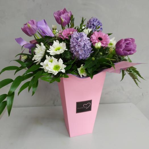 Цветы в коробке Розовые сны