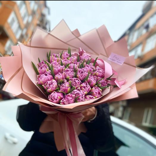 Букет пионовидных тюльпанов 35 шт