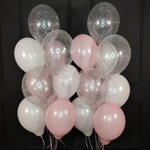 Воздушные бело-розовые и прозрачные шары с серебряными блестками