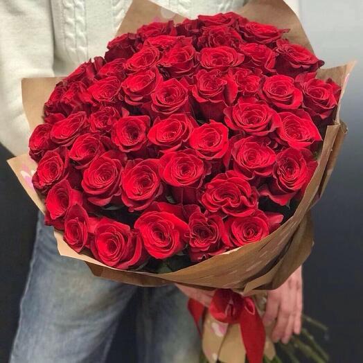 Букет из 51 красных роз 80см