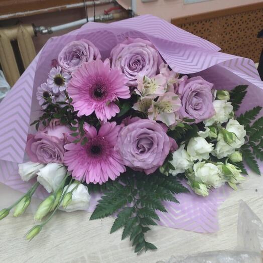 Букет Нежность с герберой и розами