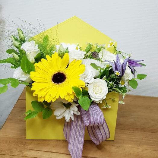 NEW!!! Конверт с цветами Желтый. Учителю