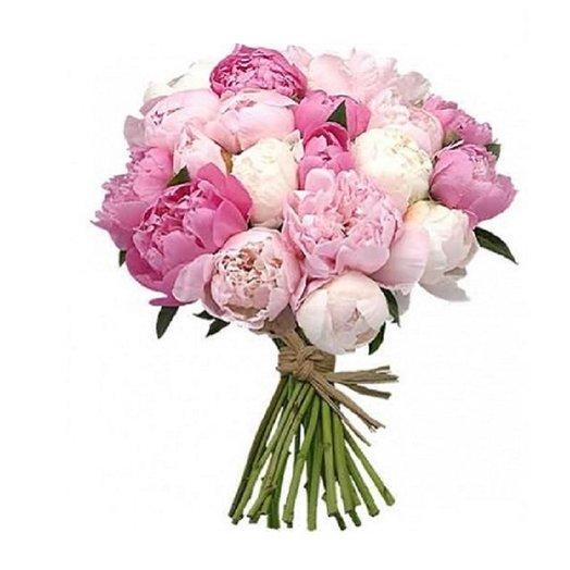 Букет из 21 розового и белого пиона: букеты цветов на заказ Flowwow