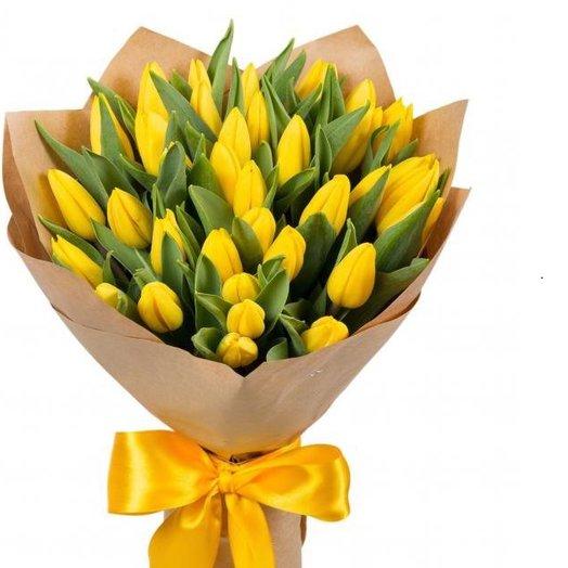 Желтые тюльпаны: букеты цветов на заказ Flowwow