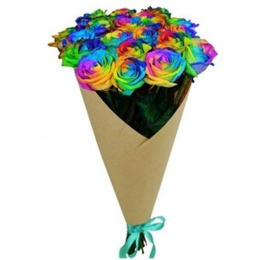19 роз радуга 60 см в крафте: букеты цветов на заказ Flowwow