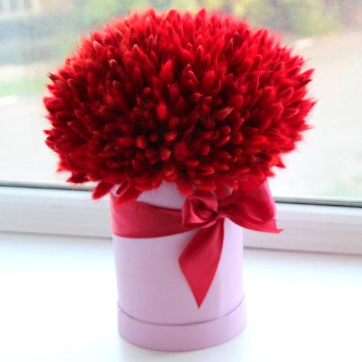 Большой букет из лагуруса в шляпной коробке: букеты цветов на заказ Flowwow