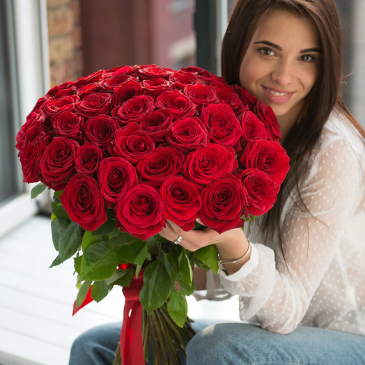 "A bouquet of 45 red roses ""Red Naomi"": flowers to order Flowwow"