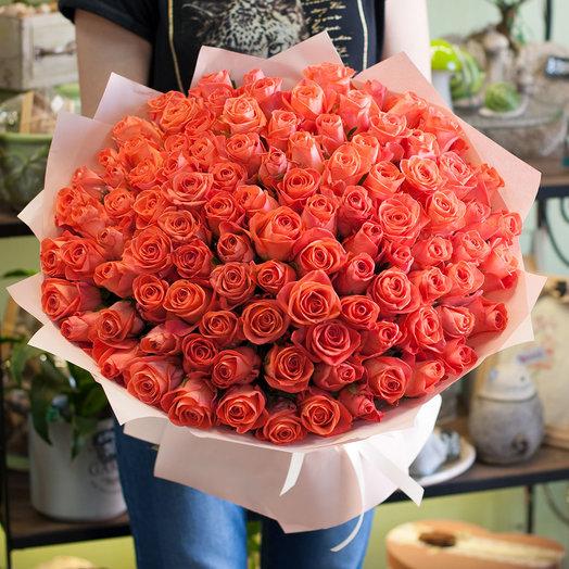 Букет из коралловых роз (101 роза)