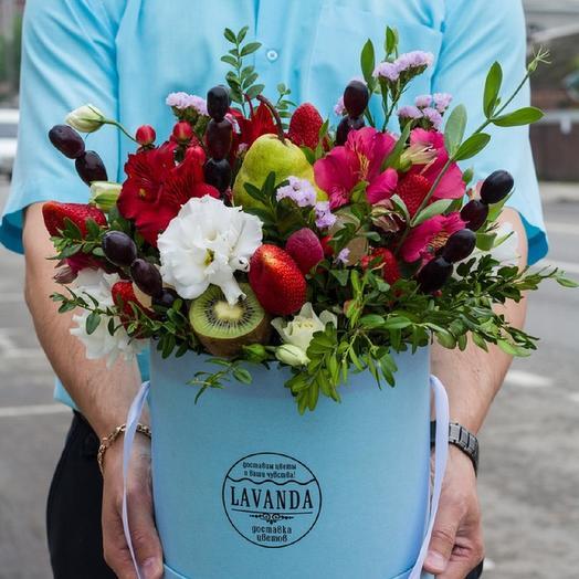 "Шляпная коробка ""Фруктовый Коктейль"": букеты цветов на заказ Flowwow"