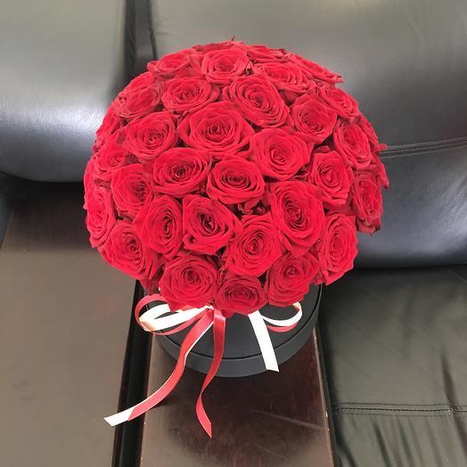 Красные розы в черной коробке: букеты цветов на заказ Flowwow