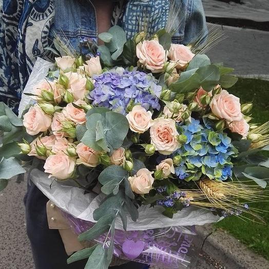Голубая симфония: букеты цветов на заказ Flowwow