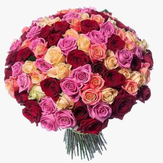Букет из 101 российской розы микс 40 см
