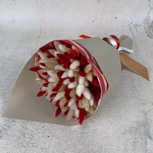 """Сухоцветный букет """" Красный пушистик"""": букеты цветов на заказ Flowwow"""