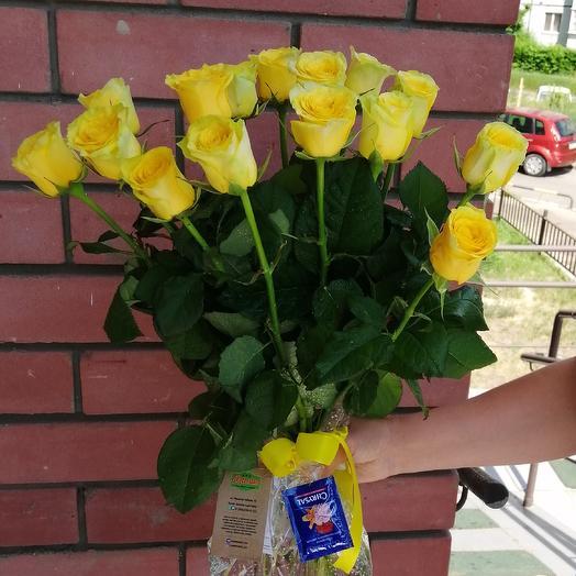 15 жёлтых роз: букеты цветов на заказ Flowwow