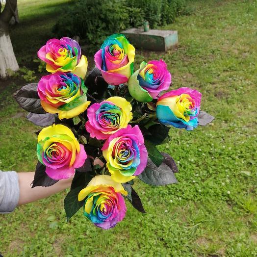 Радужная роза: букеты цветов на заказ Flowwow