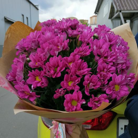 9 ярко розовых хризантем: букеты цветов на заказ Flowwow