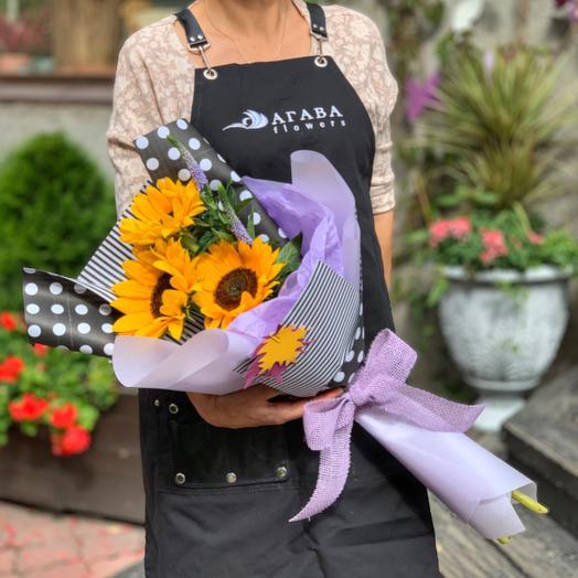 Букет с подсолнухами на 1 сентября: букеты цветов на заказ Flowwow