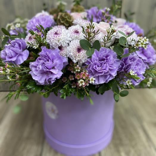 Лиловая коробка: букеты цветов на заказ Flowwow