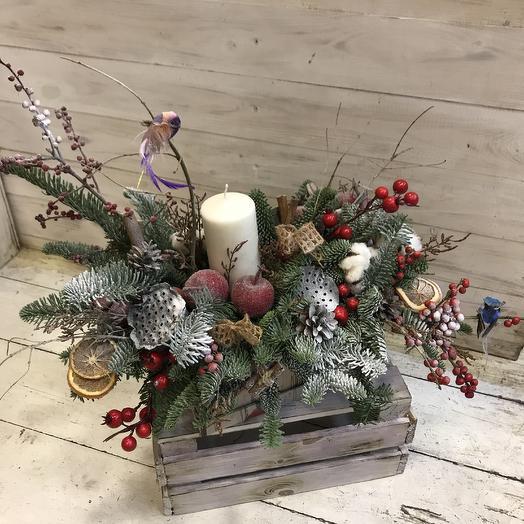 Зимняя натуральная композиция: букеты цветов на заказ Flowwow