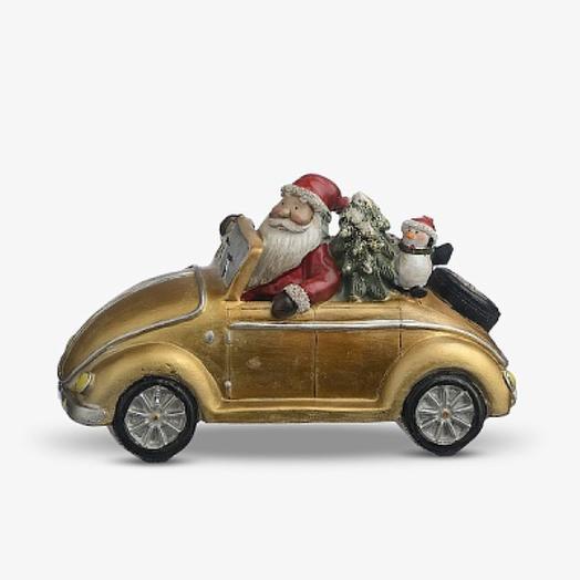 Дед Мороз с Пингвином на Машине