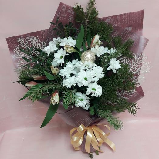 Зимний букет с хризантемой: букеты цветов на заказ Flowwow