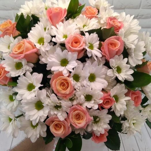 Букет из хризантем и роз: букеты цветов на заказ Flowwow