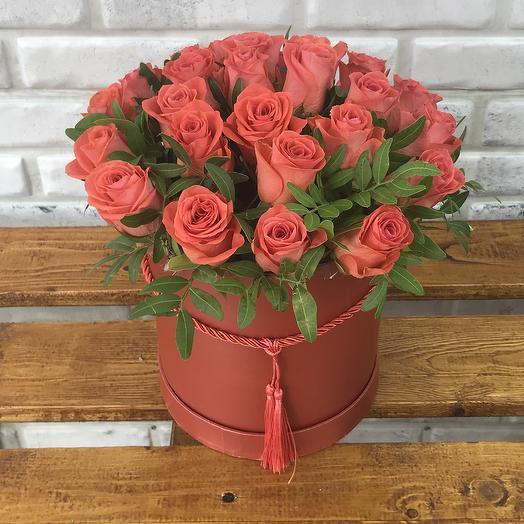 25 коралловых роз с зеленью в коробке