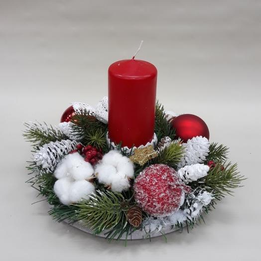Красная свеча с декором