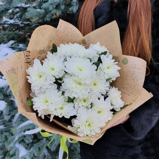 """Rosalina Монобукет из хризантем """"Зимняя сказка"""""""