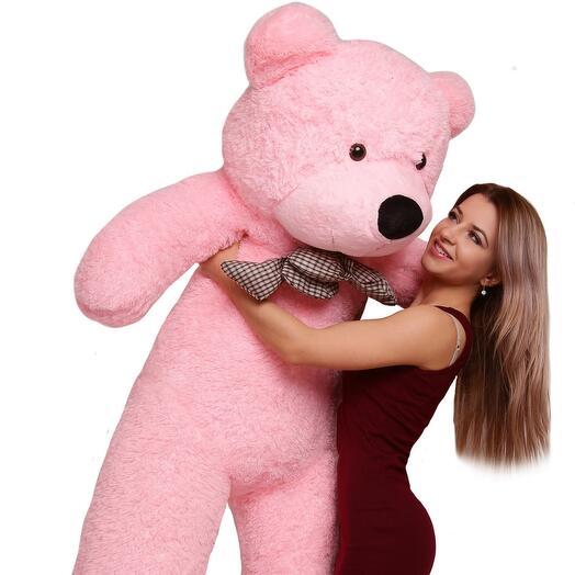 Большой розовый плюшевый мишка 140 см