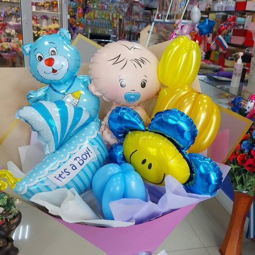 Букет тз фольгированных шаров для мальчика