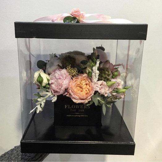 Прозрачная коробка аквариум: букеты цветов на заказ Flowwow