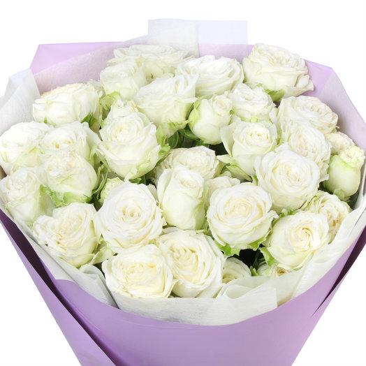"""Букет из 11 белых кустовых пионовидных роз """"Мисс Бомбастик"""": букеты цветов на заказ Flowwow"""
