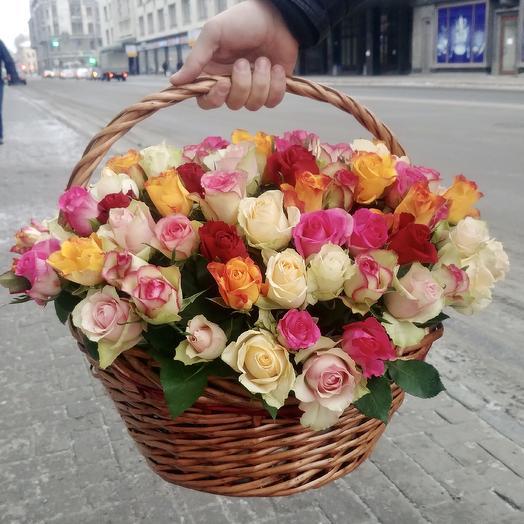 Корзина 101 роз: букеты цветов на заказ Flowwow